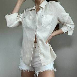 Vintage Linen Cream Button Up Collared Blouse